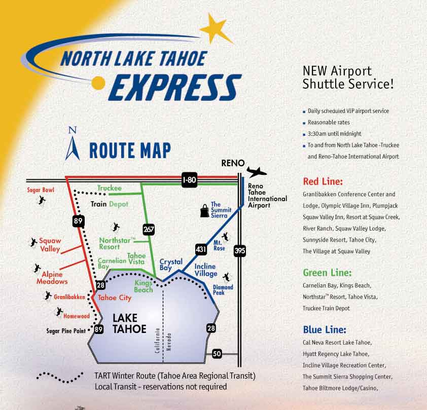 North Lake Tahoe Express Bus Transportation From Reno Airport To - Map of reno and lake tahoe