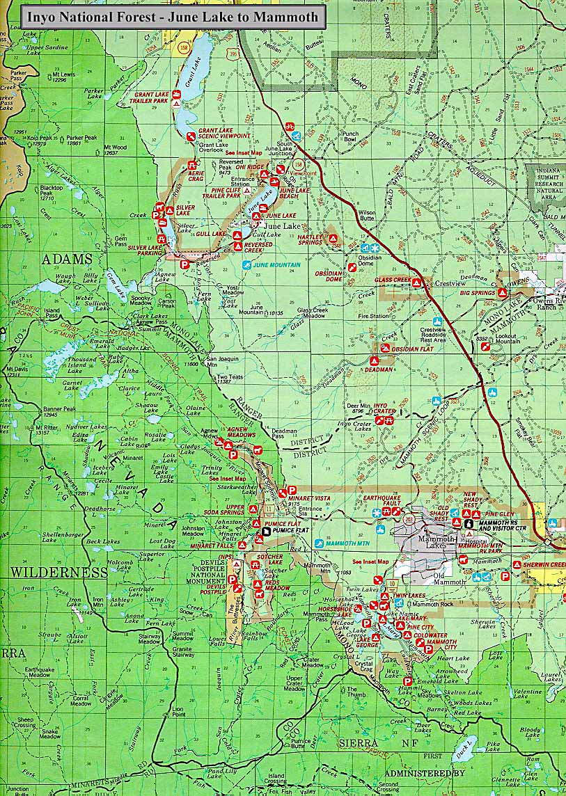 June Lake Forest Map: June Lake to Mammoth in the Inyo National Forest