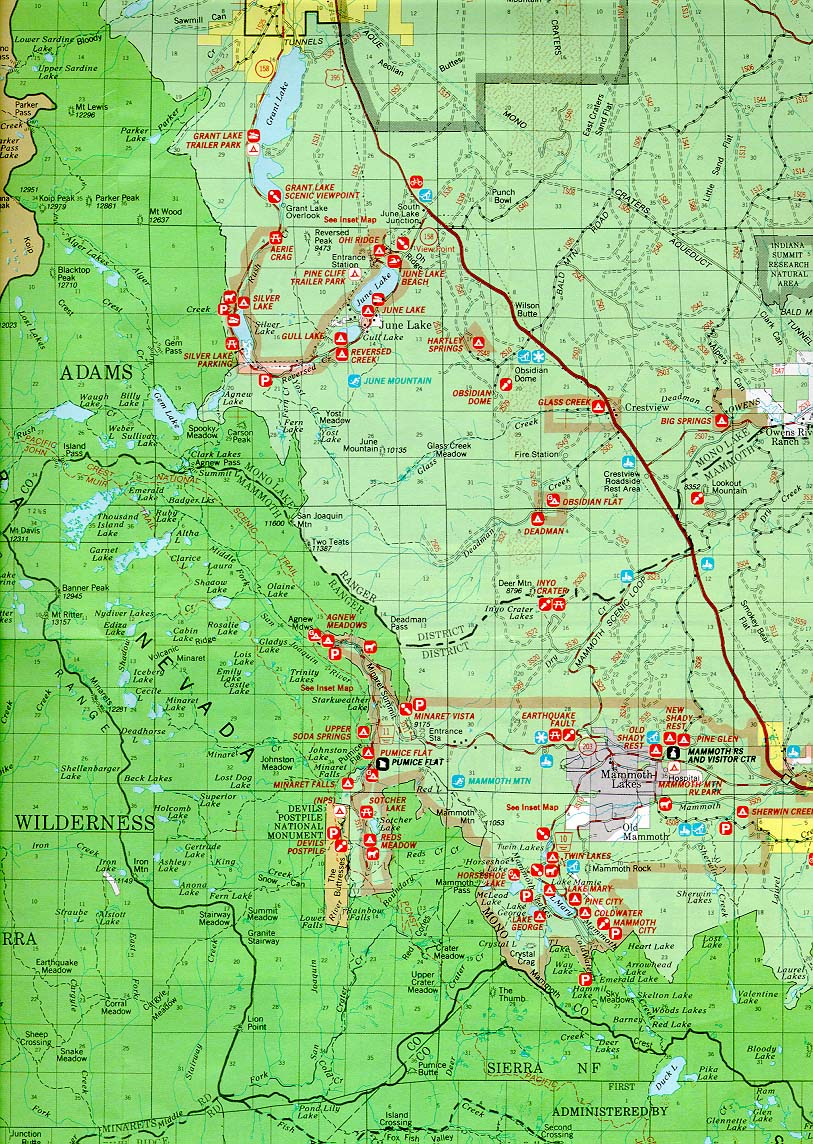 Inyo Forest Area Map Mammoth Lakes To June Lake Sierra