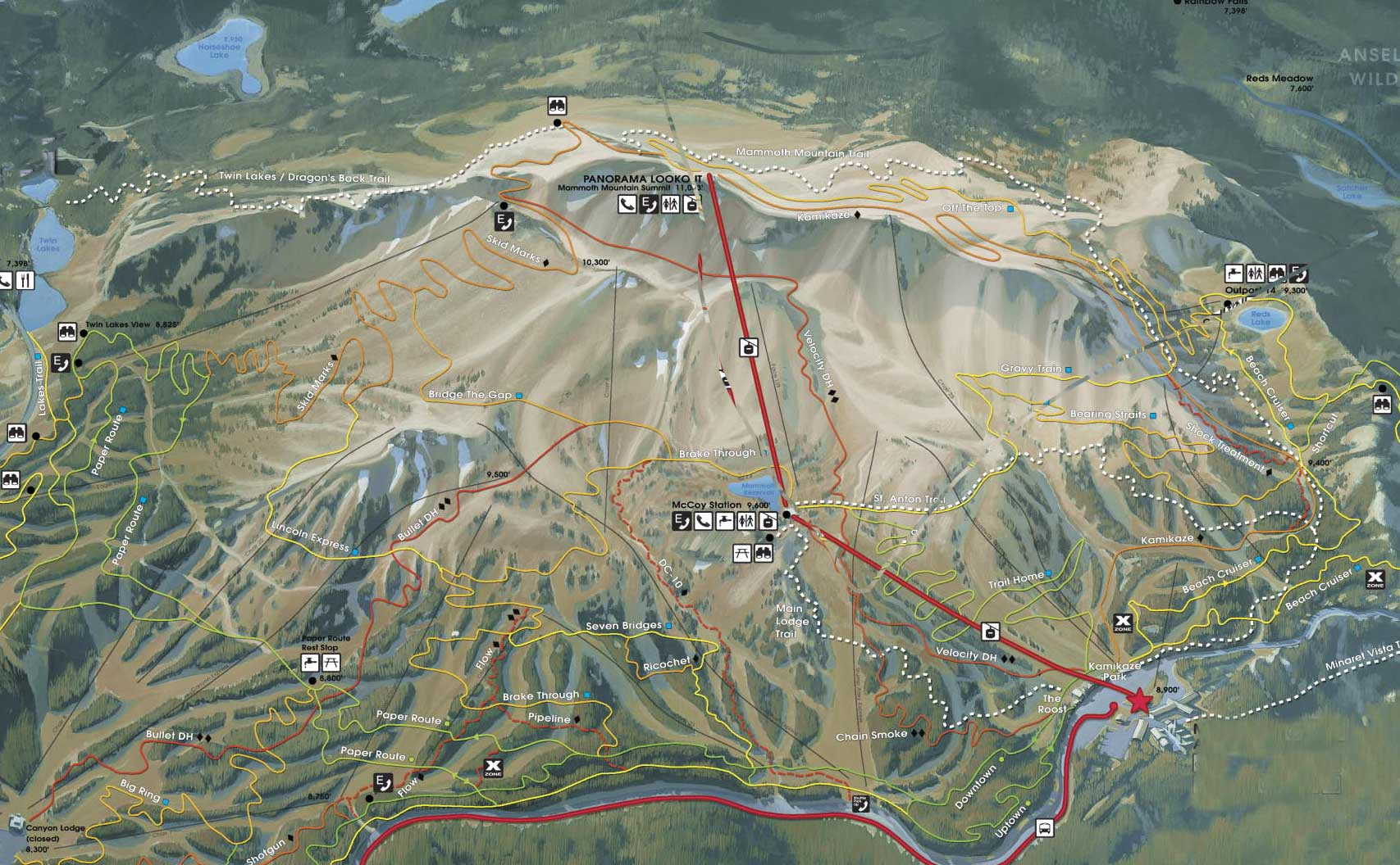 mammoth mountain bike park trail map provided courtesy of city concierge. mammoth mountain bike park trail map  peak summit   named