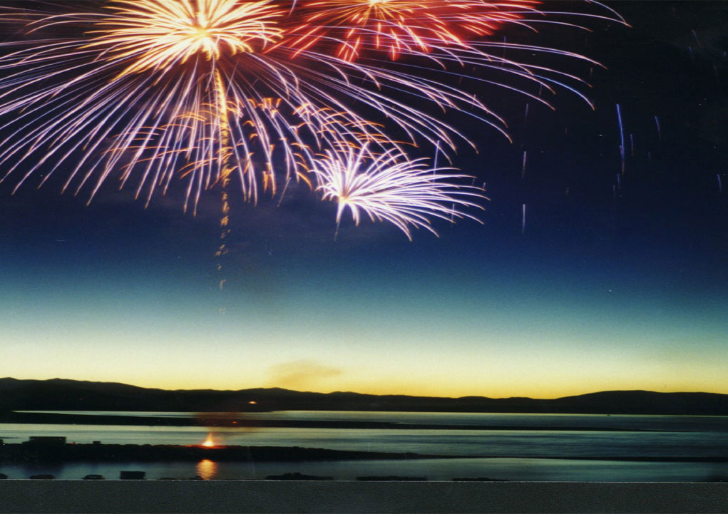Mammoth Fireworks over Crowley Lake