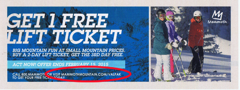 Mammoth mountain lift tickets discount coupons